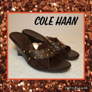 Cole Haan Brown Leather Wedge Sandals Size 9